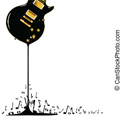 Flowing Music - A rock guitar melting down with musical...
