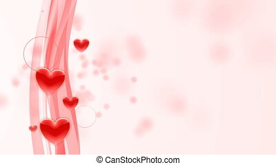 Flowing red hearts on pink flowing background