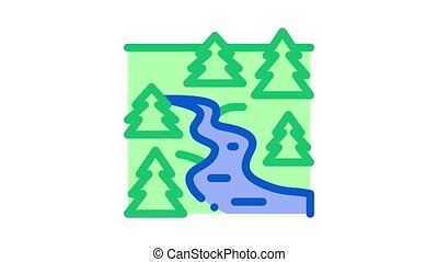 flowing river among forest Icon Animation. color flowing river among forest animated icon on white background