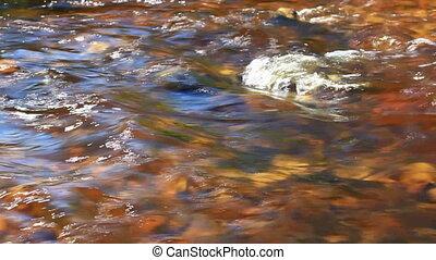 Flowing water, mountain river, closeup.