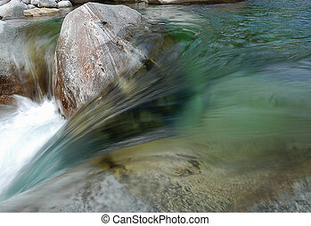 Flowing water of a mountain stream