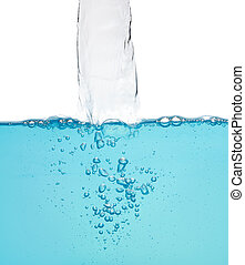 Flowing water with bubbles