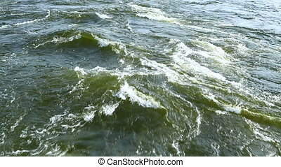 Flowing water with strong current