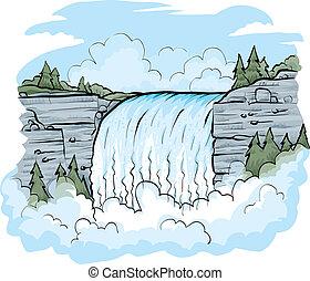 A cartoon waterfall on a fresh, bright day.
