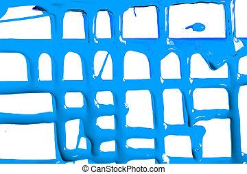 Flows of blue paint