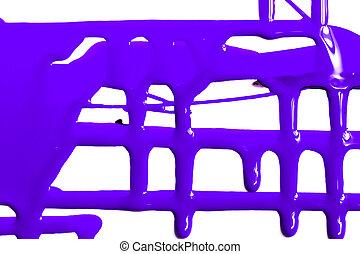 Flows of violet paint