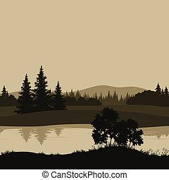 fluß, berge, landschaftsbild, bäume, seamless
