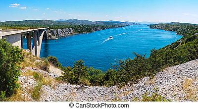 fluß, krka, und, brücke, in, kroatien