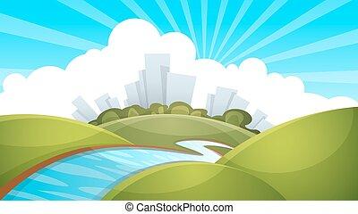 fluß, landschaftsbild, wolke, sun., stadt