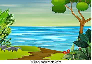 fluß, natur, hintergrund, landschaftsbild