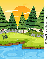 fluß, sonnenuntergang, landschaftsbild