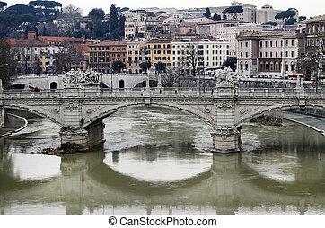 fluß tiber, in, rom, italien