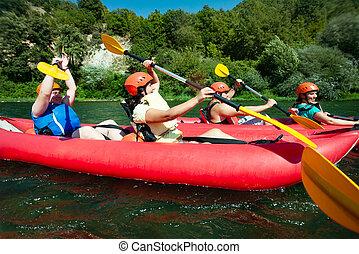 Fluß, wildwasserrafting, kanu