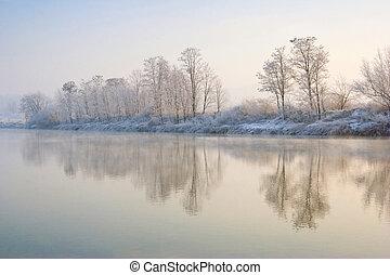 fluß, winter, sonnenaufgang, aus
