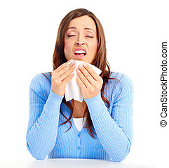 Flu, allergy - Young woman having flu or allergy. Isolated...