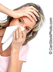 Young woman having flu or allergy. Isolated over white background.