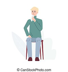 Flu and sickness with sick man having cough, flat vector illustration isolated.