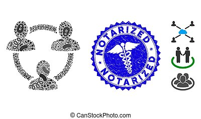 Flu Collage Trust Circle Icon with Medic Distress Notarized Seal