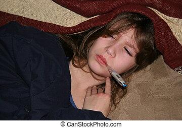 flu  - girl with flu