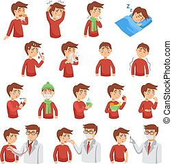 Flu iIlness Icon Set - Flu illness cartoon icons with...