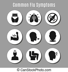 Flu influenza sickness symptoms icons