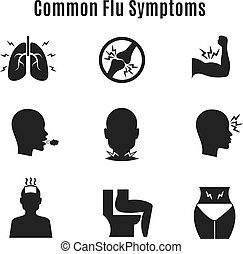 Flu influenza sickness symptoms vector icons
