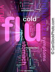 Flu influenza word cloud glowing - Word cloud concept...