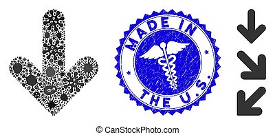 Flu Mosaic Arrow Down Icon with Medical Distress Made in the U.S. Seal