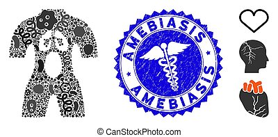 Flu Mosaic Human Anatomy Icon with Health Care Scratched Amebiasis Seal