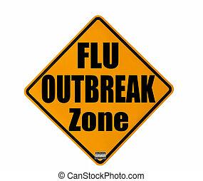 Flu outbreak warning - yellow warning sign of a flu outbreak...