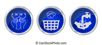 Flu prevention buttons isolated on white background