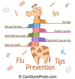 Flu Prevention Tips. Vector illustration with giraffe.