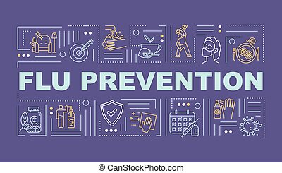 Flu prevention word concepts banner. Health protection. Vaccination shot. Infographics with linear icons on purple background. Isolated typography. Vector outline RGB color illustration
