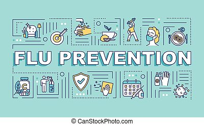 Flu prevention word concepts banner. Immunization with vitamin. Vaccination shot. Infographics with linear icons on turquoise background. Isolated typography. Vector outline RGB color illustration