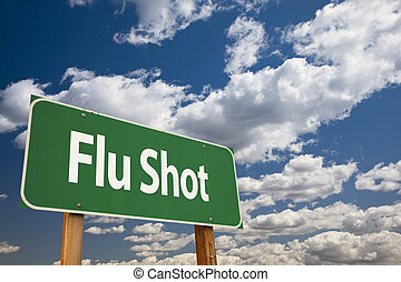 flu schot, groene, wegaanduiding