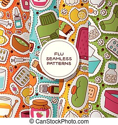 Flu seamless pattern vector sick character with fever and...