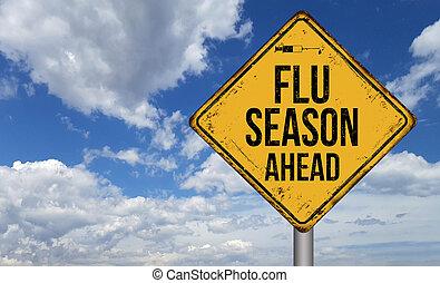 Flu season ahead metallic vintage sign
