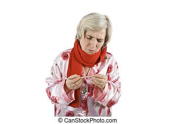 Flu senior woman