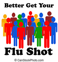flu shot reminder colorful people on white background...