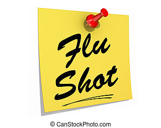 Flu Shot White Background - A note pinned to a white...