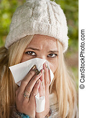 Flu - Young woman has flu