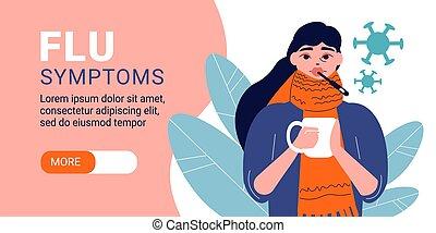Flu Symptoms Horizontal Banner