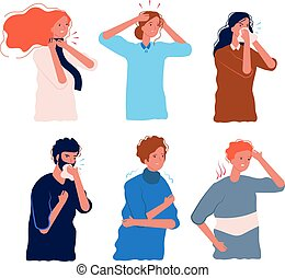Flu symptoms people. Characters of illness fever ache in the body sore throat pressing head dizziness chills flu prevention vector flat