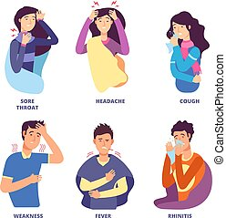 Flu symptoms. People demonstrating cold sickness. Fever cough, snot chills, dizziness. Vector characters for flu prevention poster