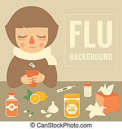 flu - cold woman, medical vector illustration, flu symptom
