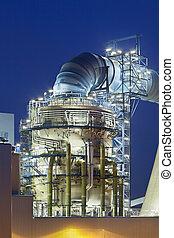 Flue-gas desulfurization plant at night - Flue-gas...
