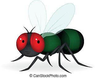 flue, grønne, cartoon