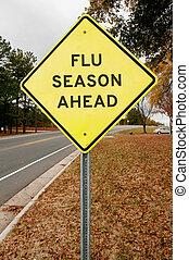 Flue Season Ahead - Yellow flu season ahead highway road...