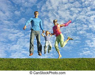flue, und, familie, glade