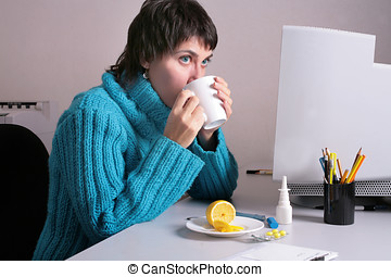 Flue - Woman in the office feels she is getting ill